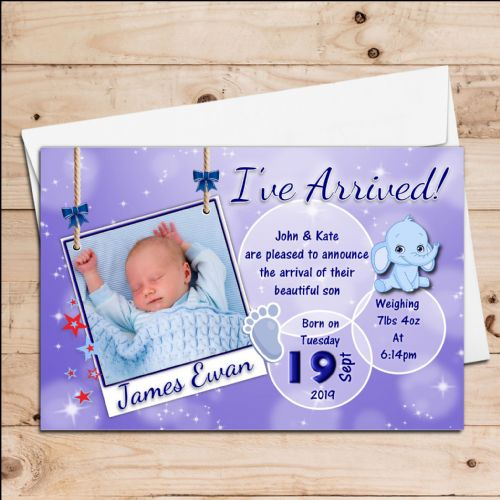 10 Personalised Baby Boy Blue Sparkle Birth Announcement Thank You PHOTO cards N119